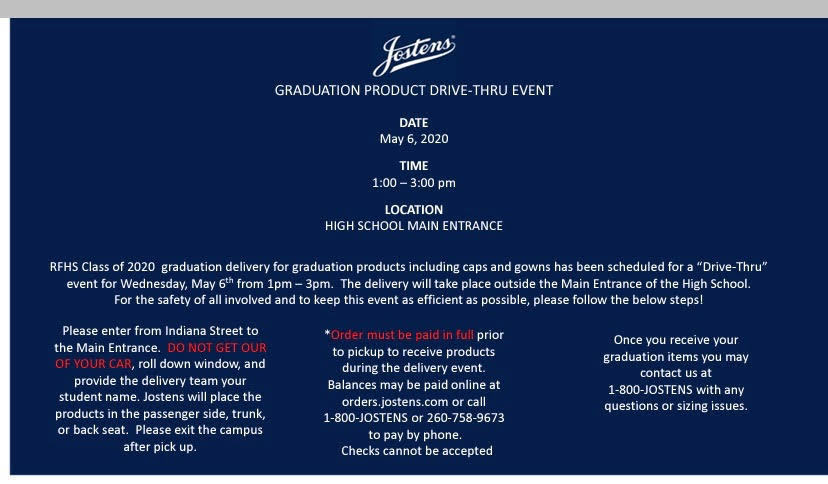 Jostens Graduation Product Drive-Thru Event