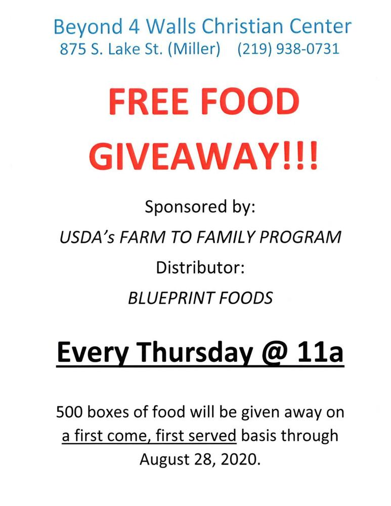 Beyond 4 Walls Christian Center FREE FOOD GIVEAWAY