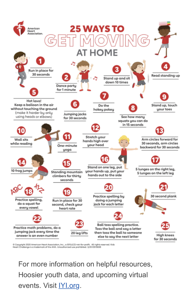 25 ways to get moving at home.