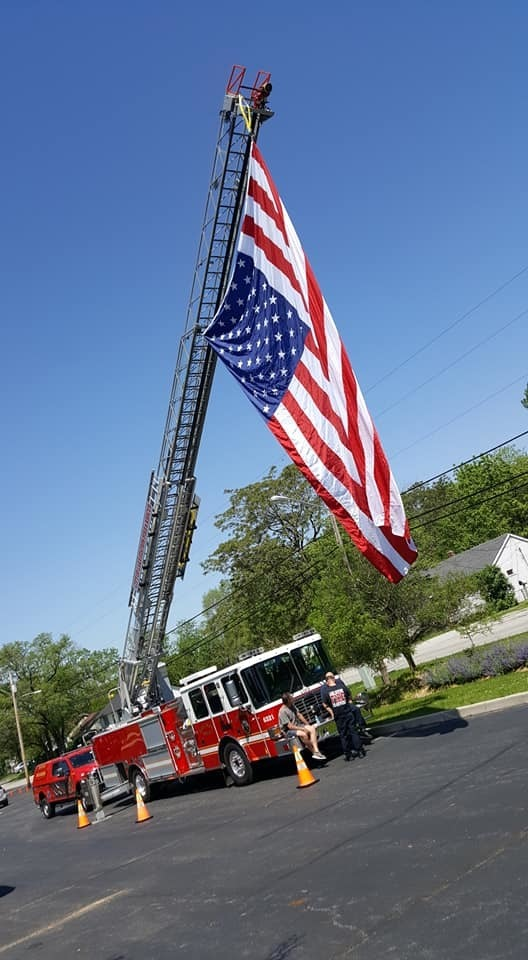 Fire truck and flag
